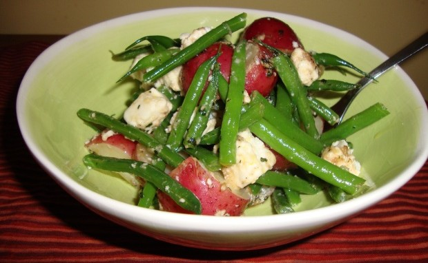 Potatoes, Green Beans and Feta Cheese Salad