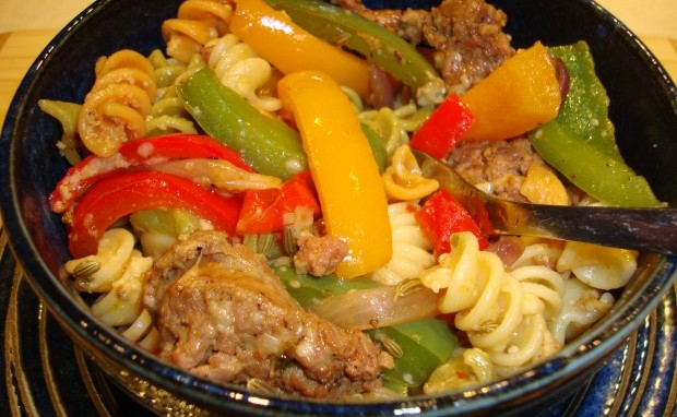 Rainbow Peppers with Tri-color Pasta