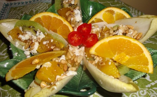 Belgian Endive, Orange, Kiwi and Goat Cheese Salad