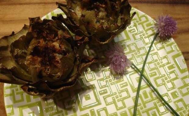 Artichoke Hearts stuffed with Gorgonzola Cheese
