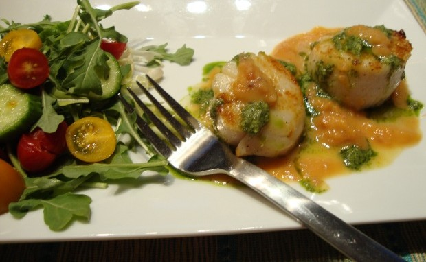 Seared Scallops with a Fruity Peach/Pineapple Sauce and Basil Pesto