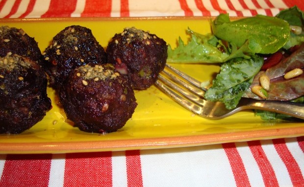 Meatballs Stuffed with Dried Plums Inside and Black Raspberry Glaze on Top!
