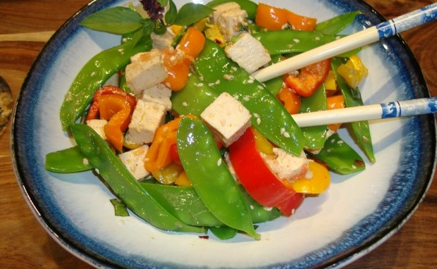 Warm Tofu and Snow Pea Salad with Asian Dressing