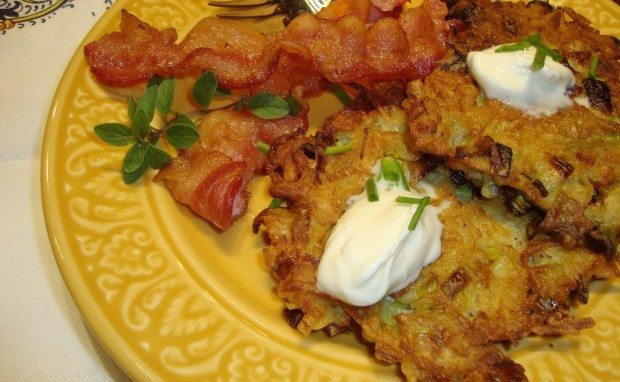 Leeks and Potato Latkes