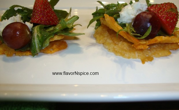 Goat Cheese and Arugula Salad on Parmesan Crackers