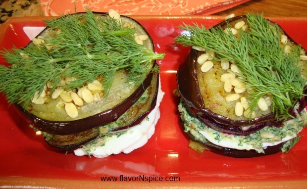 Eggplant and Beet Stack with a Dill and Almond Pesto