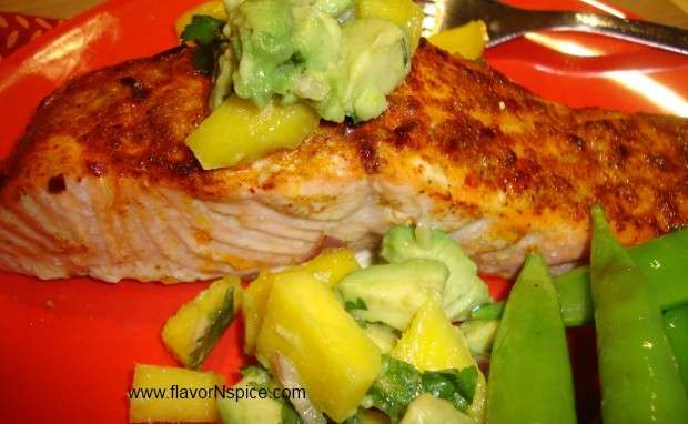 Baked Salmon With A Mango and Avocado Salsa