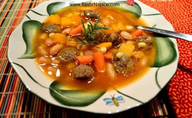 Lamb Sausage and Fall Vegetables Soup