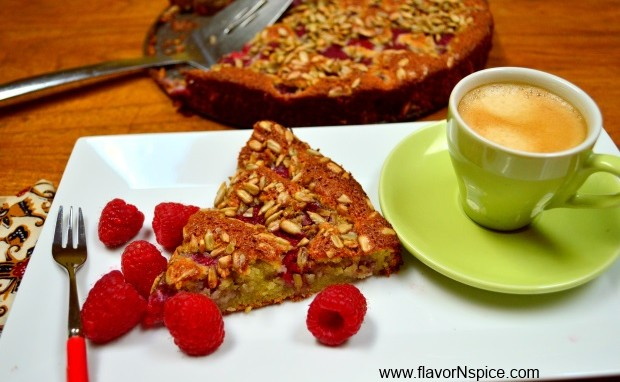 Raspberry Almond Cake with Sunflower Seeds