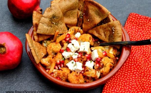 Harissa Roasted Cauliflower and Pomegranate Salad