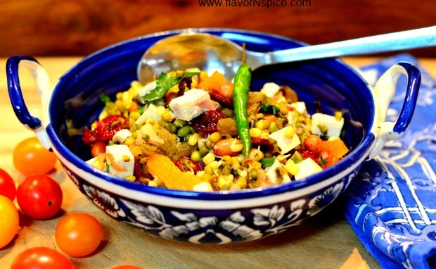 Sprouted Moong/Mung Beans Warm Salad