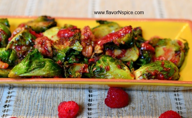 Curry Roasted Brussels Sprouts With Raspberry Vinaigrette