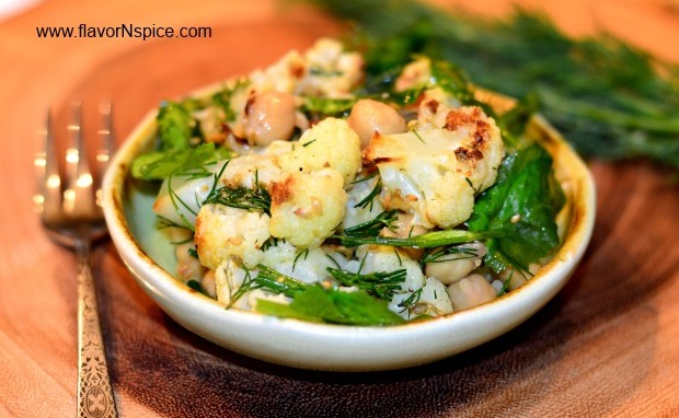 Roasted Cauliflower and Pea Shoots Mediterranean Salad