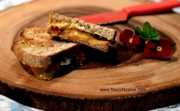 Grilled Cheddar Sandwich With Goat Cheese and Sun-dried Tomatoes