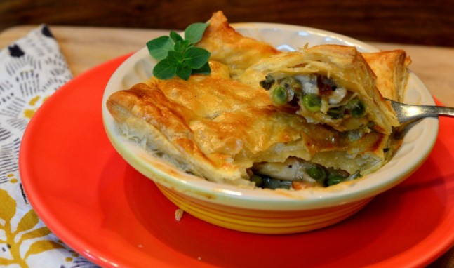 Chicken Pot Pie with a Puff Pastry Crust