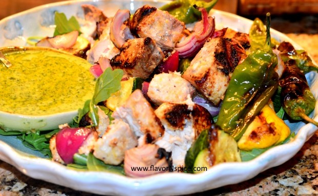Grilled Swordfish Kabobs with Grilled Pattypan Squash