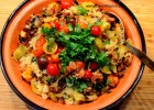 Charred Peppers, Chorizo and Quinoa Salad