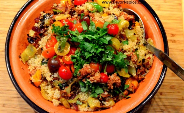 Charred Peppers, Chorizo and Quinoa Salad