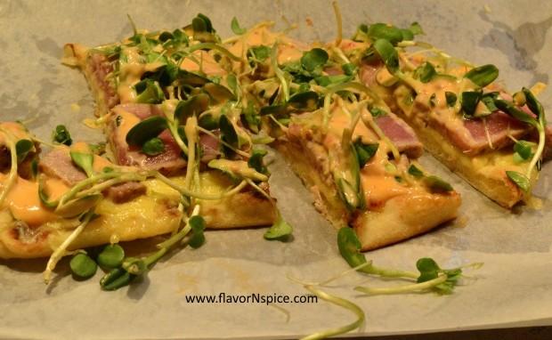 Tuna Tataki Flatbread Pizza