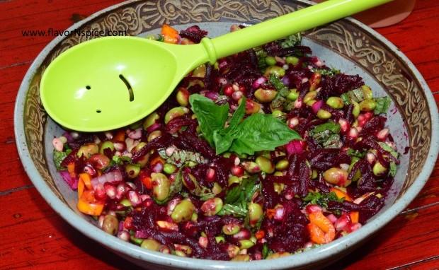 Edamame, Beets and Pomegranate Salad