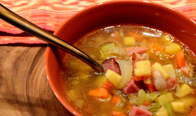 Leftover Ham Bone and Pineapple Soup