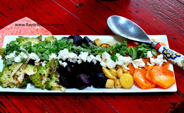 Roasted Fall Vegetables with Goat Cheese and Fresh Basil
