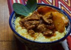 Slow-cooker Shredded Pork with Stewed Peaches